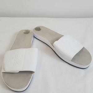 Calvin Klein white slide on sandals size 8